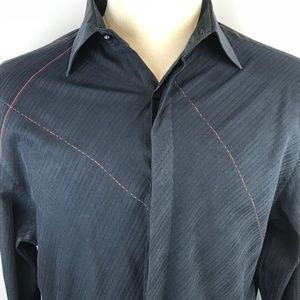 Ben Sherman Mens Black Red Accents Shirt XL
